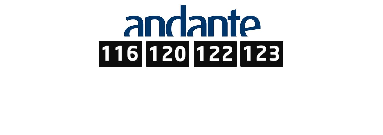 116, 120, 122 e 123: Consulte os novos tarifários com ANDANTE válidos a partir de 1 de Fevereiro